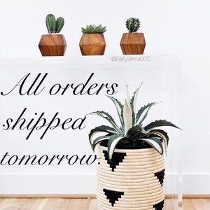 Orders shipped tomorrow.